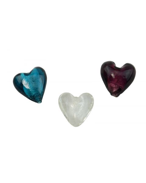 Pack of 5 Silver Foil Heart Beads Colour Choice
