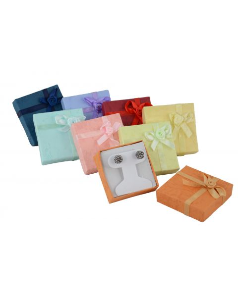 16 x Assorted Colours Earring / Pendant Boxes with Bows from 53p each - 'T' Insert