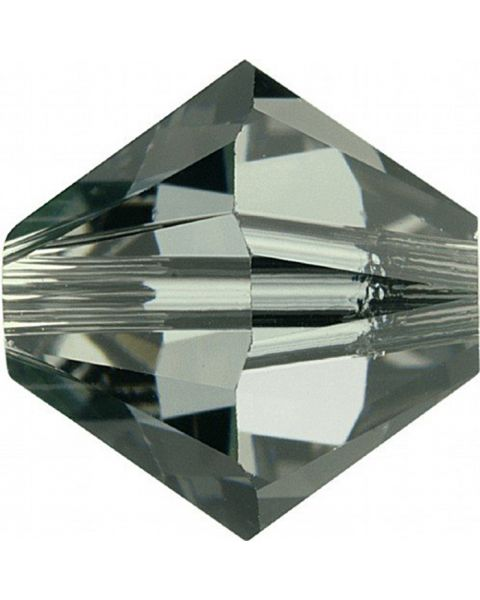 Bead Swarovski crystal, Black Diamond, 4mm faceted bicone 5301. Sold per pack of 48