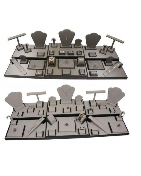 Showcase 35 Piece Display Set - Grey Suede / Steel Grey Leatherette