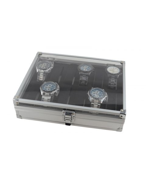 Aluminium Watch Display Case with Clear Acrylic Lid for 12 Watches