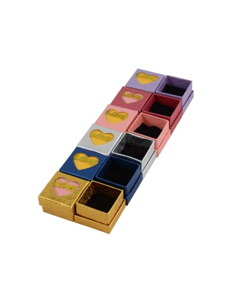 24 x Two Piece Card Ring Box with 'Love' on the Lid in Gold