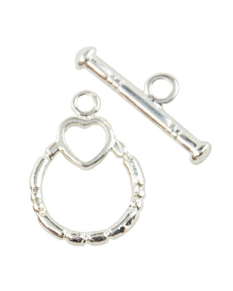 Silver Round Heart Toggles (8-158)