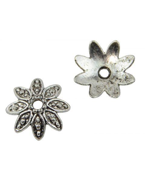 Pack of 20 Flower Bead Caps 14mm Dark Antiqued Silver (59004-203)