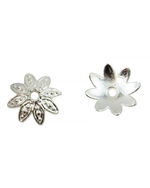 Pack of 20 Flower Bead Caps 14mm Bright Silver (59004-236)