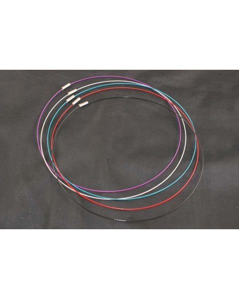 5pcs Assorted Colour Steel Wire Necklaces with Turn Buckle Clasps (53850-30)