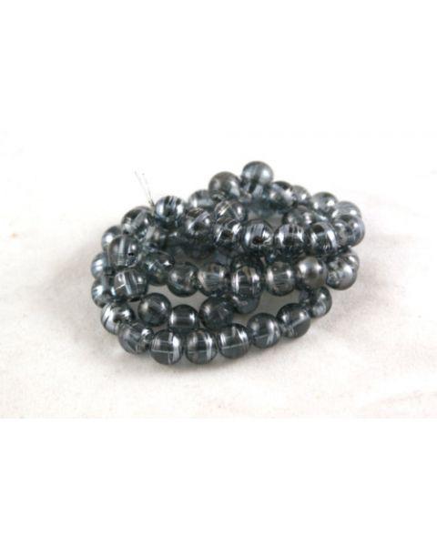 70pcs 6mm Drawbench Translucent Glass Beads - Black Diamond