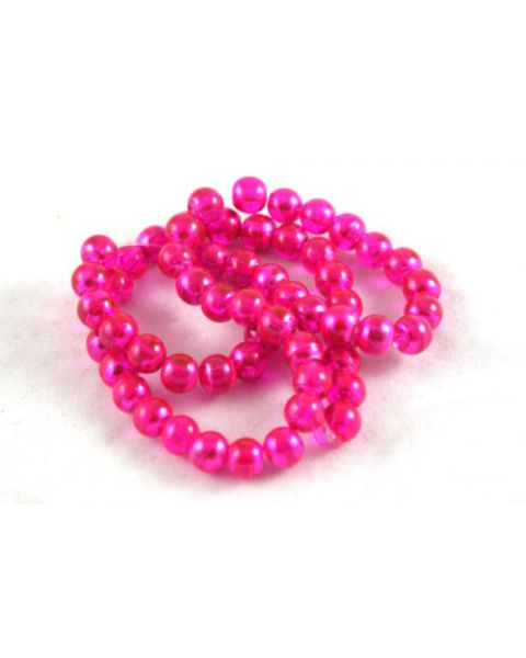 70pcs 6mm Drawbench Translucent Glass Beads - Cerise