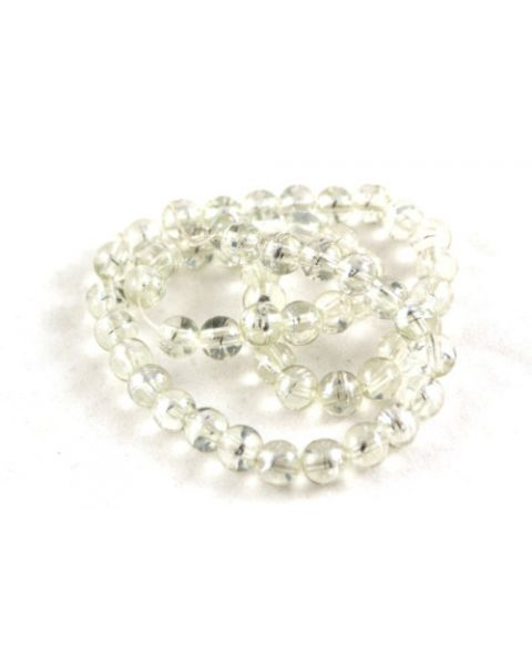 70pcs 6mm Drawbench Translucent Glass Beads - Clear