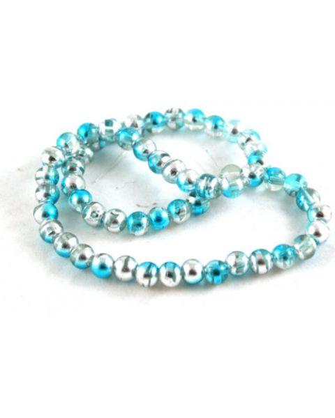 70pcs 6mm Drawbench Translucent Glass Beads - Turquoise