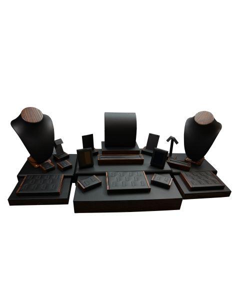 Leatherette With Wood Grain Finish 25 Piece Jewellery Showcase Set (SET77-T20)