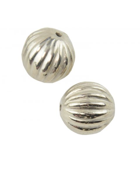 25pcs Silver Coloured Plastic Metal Look Round Bead (8-47)