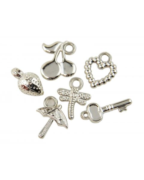 Pack of 25 Silver Colour Mix Charms (8-128)