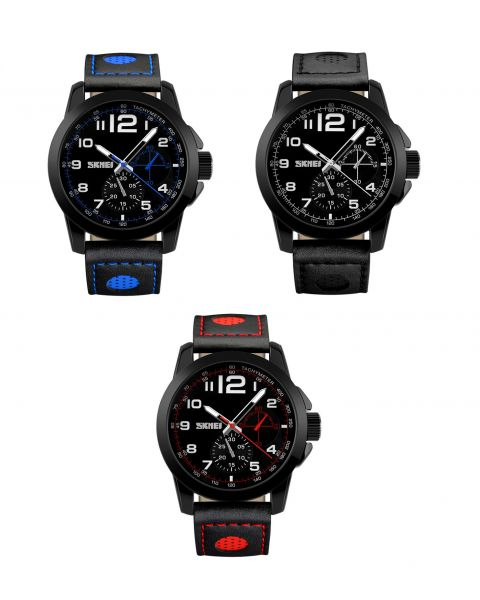 SKMEI Leather Strap Mens Smart Sport Large Face Waterproof 3ATM Wrist Watch