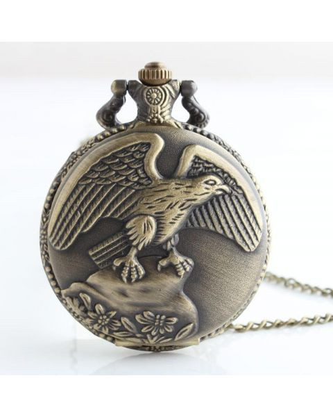 Bronze / Brass Coloured Full Hunter Pocket Watch - USA Eagle