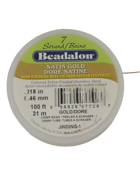 7 Strand Wire .018' Satin Gold 100ft