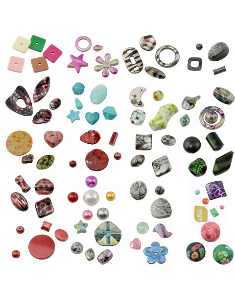 Mixed Shape & Size Acrylic Craft Bulk Beads DIY Jewellery Making Costume Design