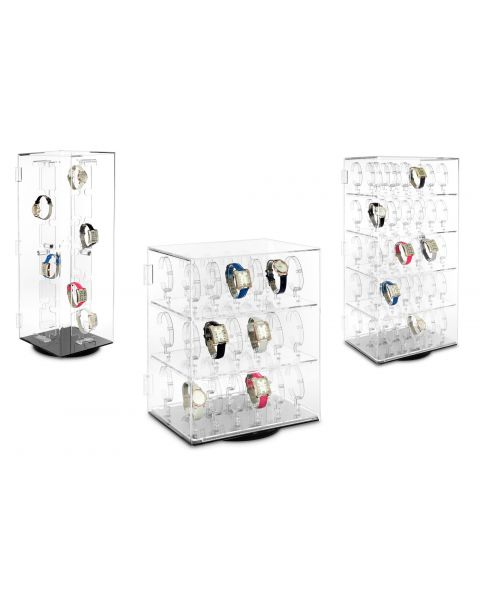 Rotating Acrylic Watch Display Case For 36 / 48 / 60 Watches