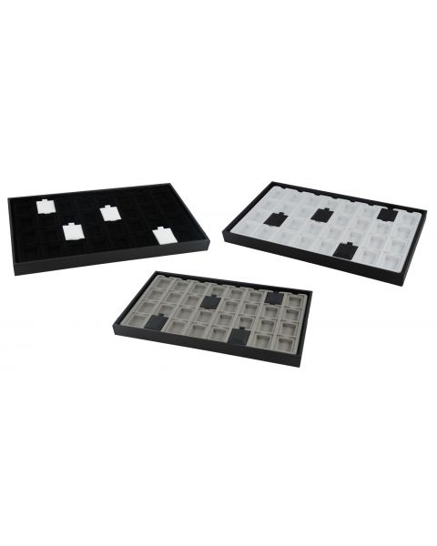 Wooden Tray with 32 Compartment Earring Insert and a box of 100 Vinyl Earring Puff Pads - Colour Choice