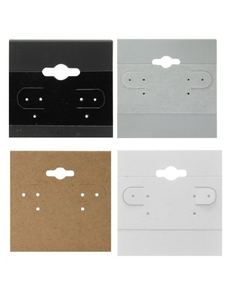 Plain Earring Hanging Cards - Pack of 100 - Colour and Size Choice