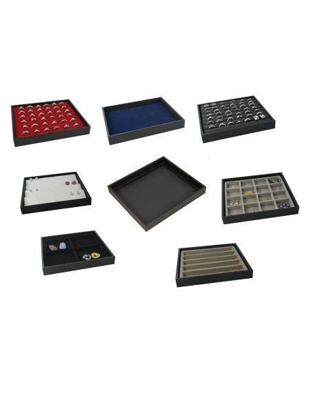 Half Size Wooden Utility Tray with Black Leatherette Finish & Choice of Insert