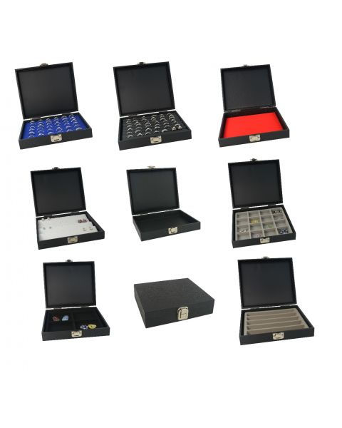Half Size Tray Case with Clasp Black Leatherette Finish & Choice of Insert
