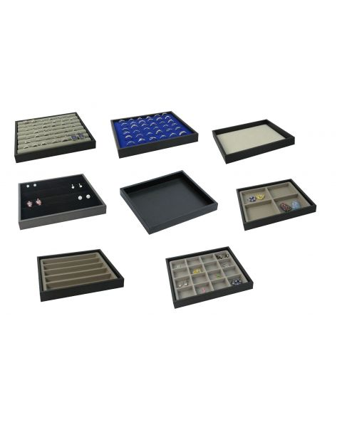 Half Size Black Plastic Utility Tray Stackable design Finish & Choice of Insert