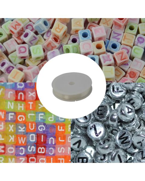 1500pcs 3 Styles Alphabet Beads Letter Beads with 1 Roll 6M Clear 1mm Thick Elastic for Jewellery Making