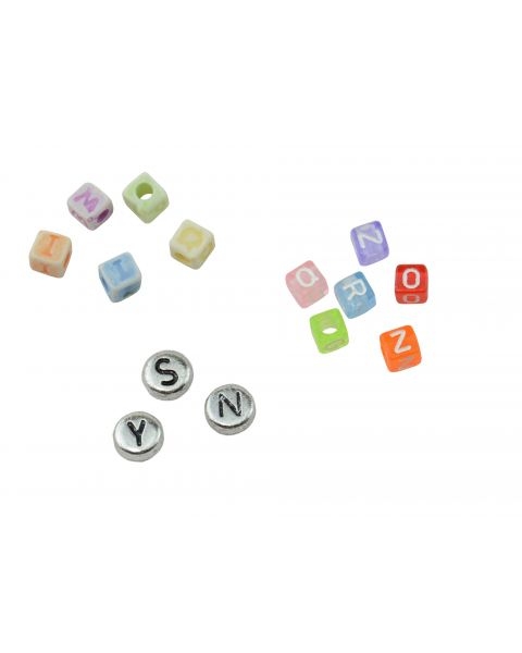 Pack of 100 Mixed Letter Alphabet Spacer Beads with Choice of Style