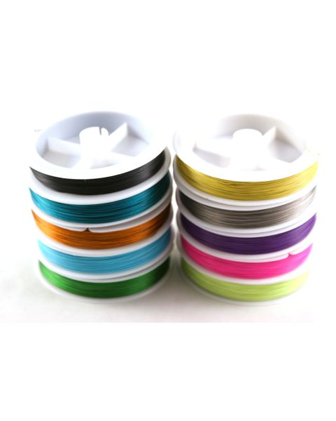 10 x Assorted Colour Spools x Tigertail Wire -0.35mm -100metre spools