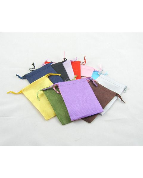 Pack of 12 Assorted Colour Silky Drawstring Pouches - Size Choice