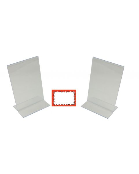 2 Acrylic Double Sided Holders And Choice Of Sale Sign Card Packs (BD1211X2)