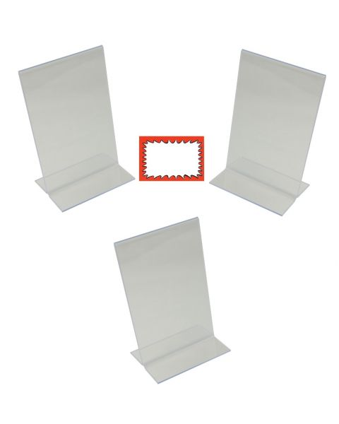 3 Acrylic Double Sided Holders And Choice Of Sale Sign Card Packs (BD-1211X3)