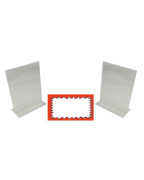 Acrylic 2 Sign Holders Display Stand And Choice Of Sale Sign Card Packs (BD-1215X2)