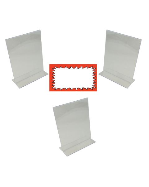 Acrylic 3 Sign Holders Display Stand And Choice Of Sale Sign Card Packs (BD-1215X3)