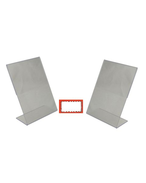 Acrylic 2 Slant Back Holders And Choice Of Sale Sign Card Packs Display (BD-1217X2)
