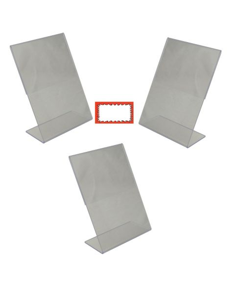 Acrylic 3 Slant Back Holders And Choice Of Sale Sign Card Packs Display (BD-1217X3)