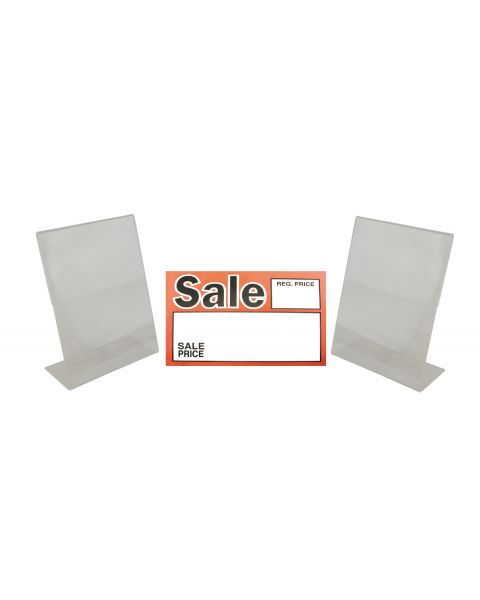 Acrylic Sign 2 Holders And Choice Of Sale Sign Card Packs Display (BD-1219X2)