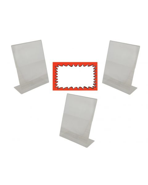 Acrylic Sign Holders 3 And Choice Of Sale Sign Card Packs Display (BD-1219X3)