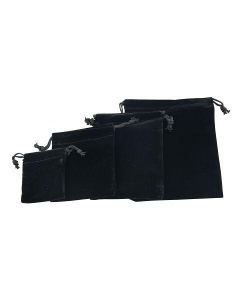 12 x Black Velvet Rectangle Drawstring Pouches - Size Choice