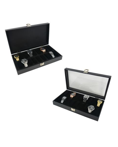 Display Case with 18 Watch/Bracelet Collars - Choice of Lid Style