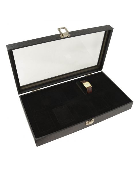 Glass Lid Display Case with 10 Large Watch Inserts (BD2174C)