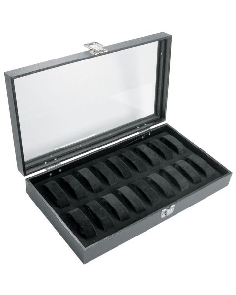 *CLEARANCE* Glass Lid Display Case with 16 Watch/Bracelet Collars (BD2172C)