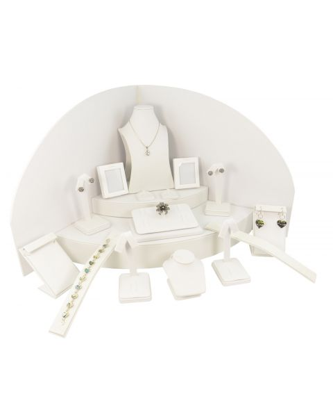 White Leatherette 18 Piece Display Set *CLEARANCE-Half Price*