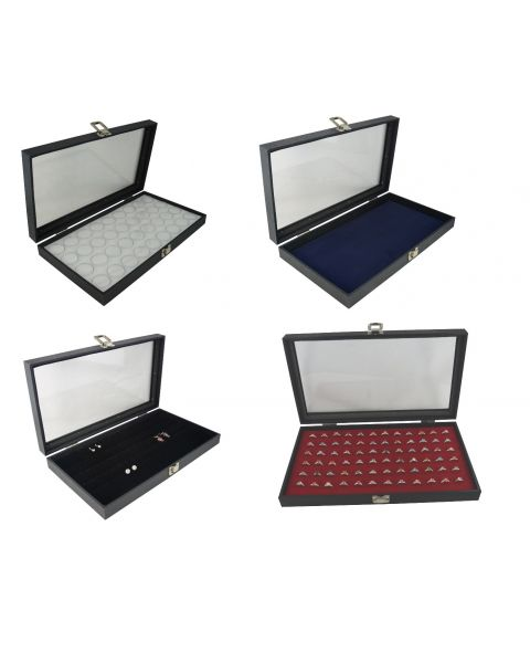 Glass Top Display Case (BD83-1C) with a Choice of Ring, Earring, Gem pot or Display Pad Insert