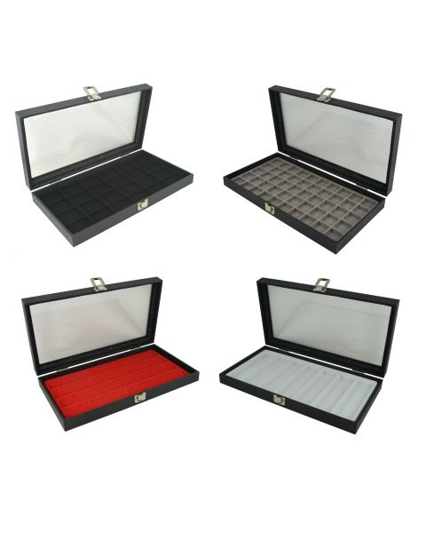 Glass Top Display Case (BD83-1C) with a choice of flocked compartment insert