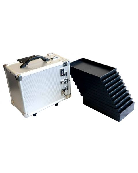 Aluminium Wheeled Storage Case with 12 Trays (BD8617)