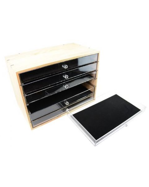 Deluxe Wooden 6 Drawer Storage Organizer Clear Acrylic Drawers - BD8817-A90