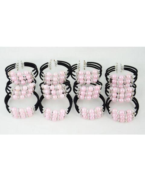Pack of 12 Pink Beaded Bracelets
