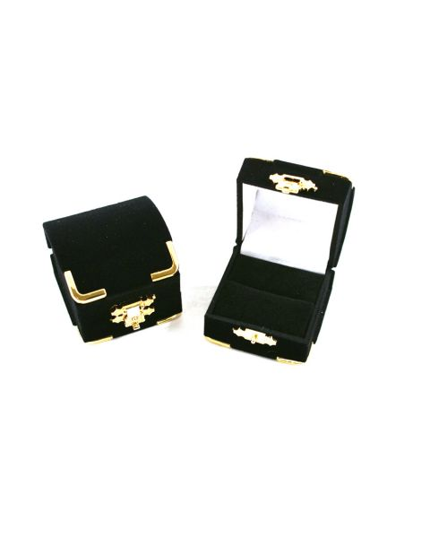 Black Velvet Antique Style Ring Box with Brass Look Clasp & Corners (BDKUR3) from £1.15